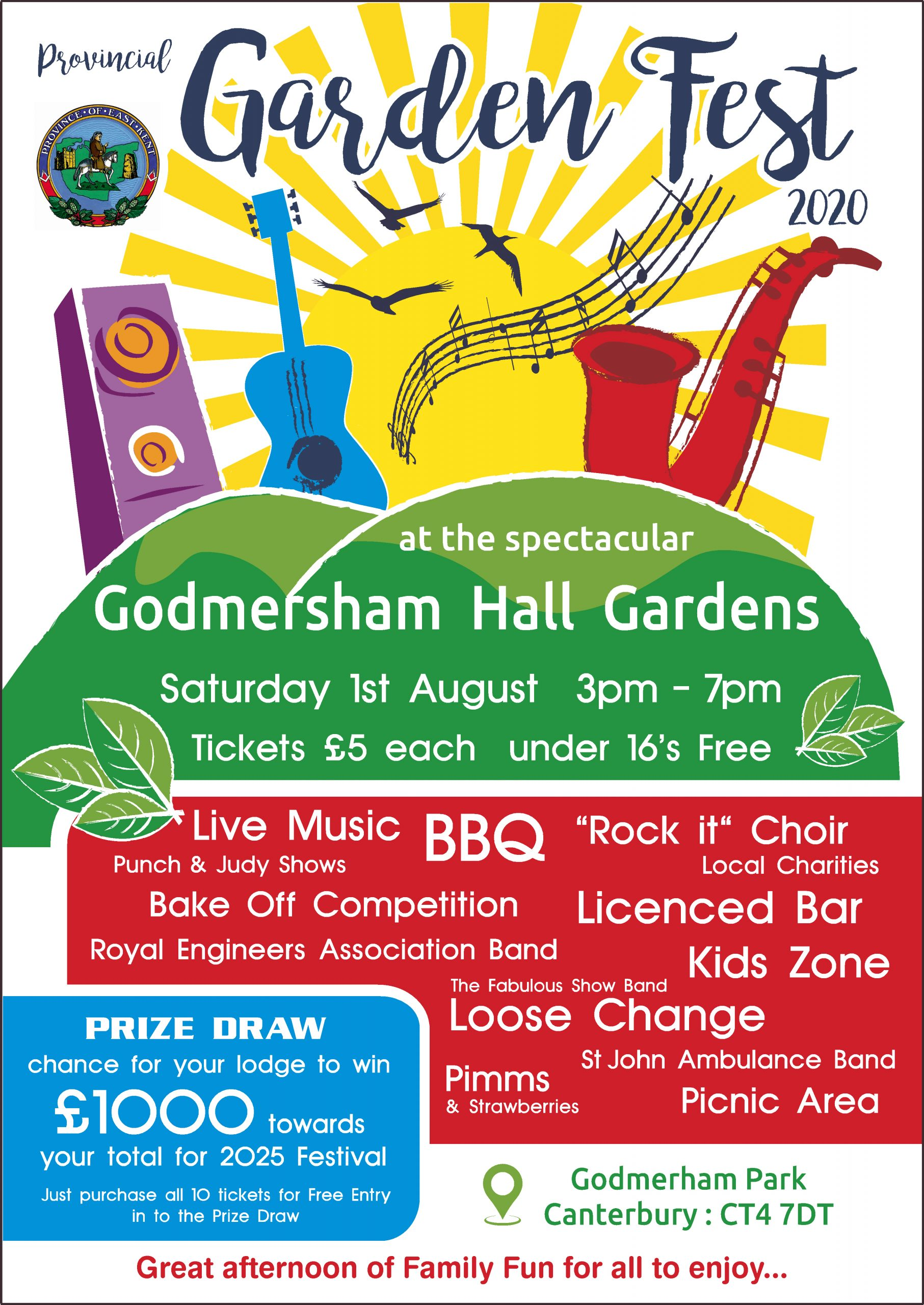 paicture of the poster for godmersham hall garden party